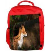 Snoogg Eco Friendly Canvas Fox And Wood Designer Backpack Rucksack School Travel Unisex Casual Canvas Bag Bookbag Satchel 5 L Backpack(Red)