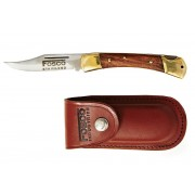 Couteau pliant 17,5cm laiton bois + étui cuir