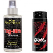 Wild Stone Red Body Deodorant 150ml and Pink Root Tag-Him Pour Homme Fragrance body Spray 200ml Pack of 2
