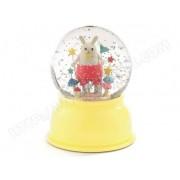 LITTLE BIG ROOM Lampe veilleuse boule neigeuse paillettes lapin champignon jaune D11xH14cm YOKO jaune jaune
