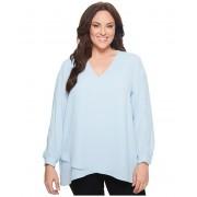 Karen Kane Plus Size Split Sleeve Crossover Top Light Blue
