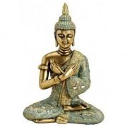 Merkloos Woondecoratie Boeddha beeldje goud/groen 33 cm