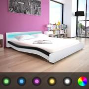 vidaXL 160x200 cm fekete és fehér LED-es ágy memóriahabos matraccal