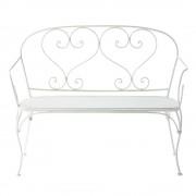 Maisons du Monde 2 seater wrought iron garden bench seat in ivory St Germain