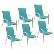 Happy Garden Lot de 6 chaises MARBELLA en textilène bleu - aluminium blanc