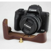 Genuine Leather Half Bottom Camera Protective Case Bag for for Canon EOS M50 - Coffee