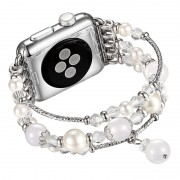 Agate Beads Pearl Watch Bracelet Band for Apple Watch Series 4 40mm/3/2/1 38mm - White