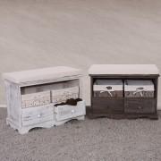 Sitzbank Kommode mit 2 Körben 42x62x33cm, Shabby-Look, Vintage ~ Variantenangebot