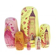 Arsdoll Cute Dancing Blonde Princess Castle Pattern With Heart Rose Around Nesting Doll Wooden Matryoshka Russian Handmade Stacking Toy Set 6 Pcs For Kids Girl Mother'S Day Home Decoration