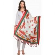 Swaron Cream and Red Colored Animal Printed Bhagalpuri Silk Dupatta