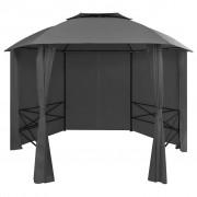vidaXL Marchiză pavilion cort de grădină cu perdele, 360x265 cm, hexagonal