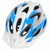 18 Vents PC + EPS casco de bicicleta con visera para el ciclismo azul + blanco