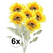 Bellatio flowers & plants 6x Gele zonnebloem kunstbloemen 82 cm