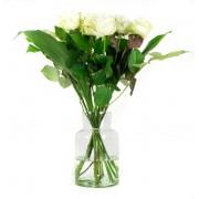 Boeket witte rozen Rosaly