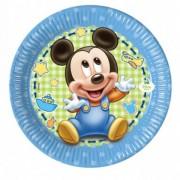 Set 8 farfurii de unica folosinta 23 cm Baby Mickey Mouse Disney Baby