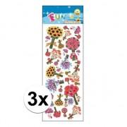 Merkloos 3x Stickervellen bloem boeketten