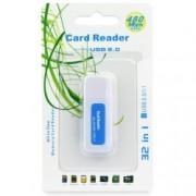 Card Reader USB Titanium - Albastru