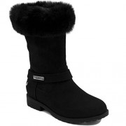 Nautica Girls Youth Warm Ankle High Fashion Boots with Soft Fluffy Upper-Cosima-Black-1