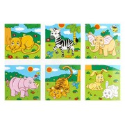 Shanaya Toys Early Age 6 in 1 Wood Block Puzzles for Small Kids (Multi Color) (Zoo Animals)