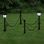 vidaXL Reťazový plot s 2 solárne LED lampy