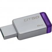 Kingston USB Flash Drive DT50/8GB- DataTraveler 50, Speed2 USB 3.1 Gen 13- 30MB/s read, 5MB/s write, 8GB, Metal casing with purple