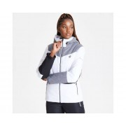 Women's Ice Gleam Waterproof Insulated Hooded Ski Jacket White Aluminium Grey