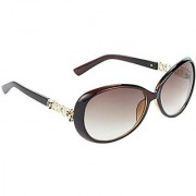 Hrinkar Brown Mirrored Over-sized Unisex Sunglasses