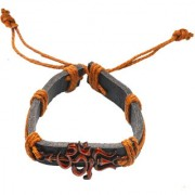 Sullery Lord Shiv Om Trishul Leather Bracelet
