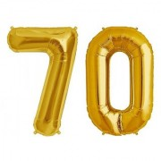 De-Ultimate Solid Golden Color 2 Digit Number (70) 3d Foil Balloon for Birthday Celebration Anniversary Parties