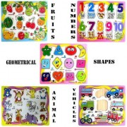 Wishkey Wooden Educational Colorful Fruits Numbers Geometric Shapes Animals Vehicles Set of 5 Puzzle board