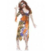 Vegaoo Hippie-Zombie Halloweenkostüm für Frauen.