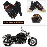 AutoStark Gloves KTM Bike Riding Gloves Orange and Black Riding Gloves Free Size For Hyosung Aquila Pro 650