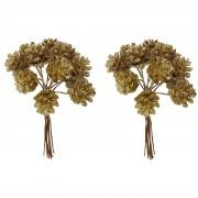Bellatio Decorations 2x Kerststukje instekers bosje van 12 gouden dennenappels op draad