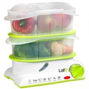 Уред за готвене на пара LAFE PAK001, 2 купи, Таймер, Автоматично изключване, Бял/Зелен
