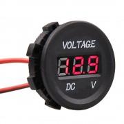 Okrúhly vodotesný voltmeter 12V/24V červený