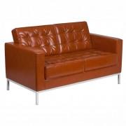 Canapea 2 locuri FLOR, piele regenerata maro