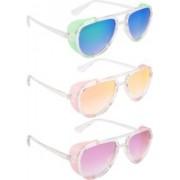 NuVew Aviator, Shield Sunglasses(Green, Blue, Orange, Golden, Violet)