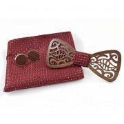 Dřevěný motýlek s kapesníčkem a manžetovými knoflíčky Gaira 709035