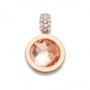 Mi Moneda PEN-03-XS Pendant Xs 925 Silver Rosegold Plated With Cz Stones Munthouder Maat XS