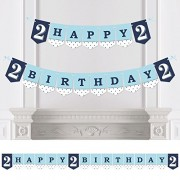 Big Dot of Happiness Boy - Two Much Fun - 2nd Birthday Party Bunting Banner - Happy Birthday