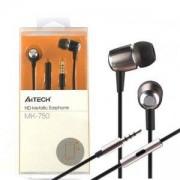 Слушалки A4tegh, тип тапи, микрофон, A4 MK-730 EARPHONE METALIC, Черни