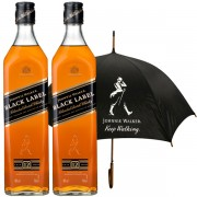 Johnnie Walker Black Label Umbrella Gift Set 2 x 0.7L
