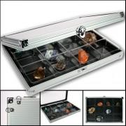 Lego, Rock, Gem & Mineral Display Case - Aluminum