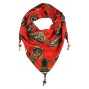 Clock trojúhelníkový šátek s potiskem červená