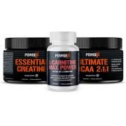 PowGen Sada MUSCLE UP: kreatin, l-karnitin a BCAA pro rychlejší růst svalů a perfektní regeneraci po cvičení. Program na 30 dní.