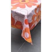 Luxe Stof Bedrukt Tafelzeil – Tafelkleed – Tafellaken – Afwasbaar – Duurzaam – 140 x 160 cm – Bloem Oranje