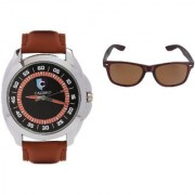CALIBRO Men's Black-Brown watch Brown Wayfarer Sunglass
