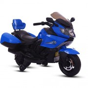BAYBEE Satune Trike 6V AH Battery Operated Sports Bike with Double Motor, MP3 Player and 30kg Capacity for Kids (Blue)