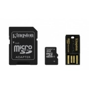Kingston 8GB Multi Kit / Mobility Kit Clase 4, incl. Tarjeta microSDHC con Adaptadores SD y USB