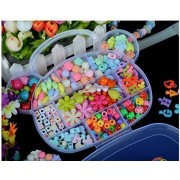 Idealgo Colorful Acrylic Beaded DIY Necklace & Bracelet Beads Set Colorful Acrylic Beads DIY Color Woven Bracelet Handmade Beaded Early Childhood Educational Toys for Children Bear SHAPE BOX